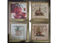 Four Floral Print Framed Pictures : 15in x 15in Each Pic (PRICE IS FOR ALL!)
