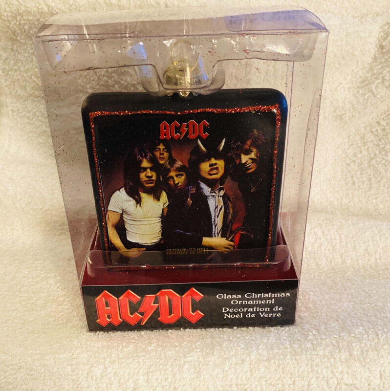 AC/DC Highway To Hell Double Sided Glass Christmas Ornament NEW In Box