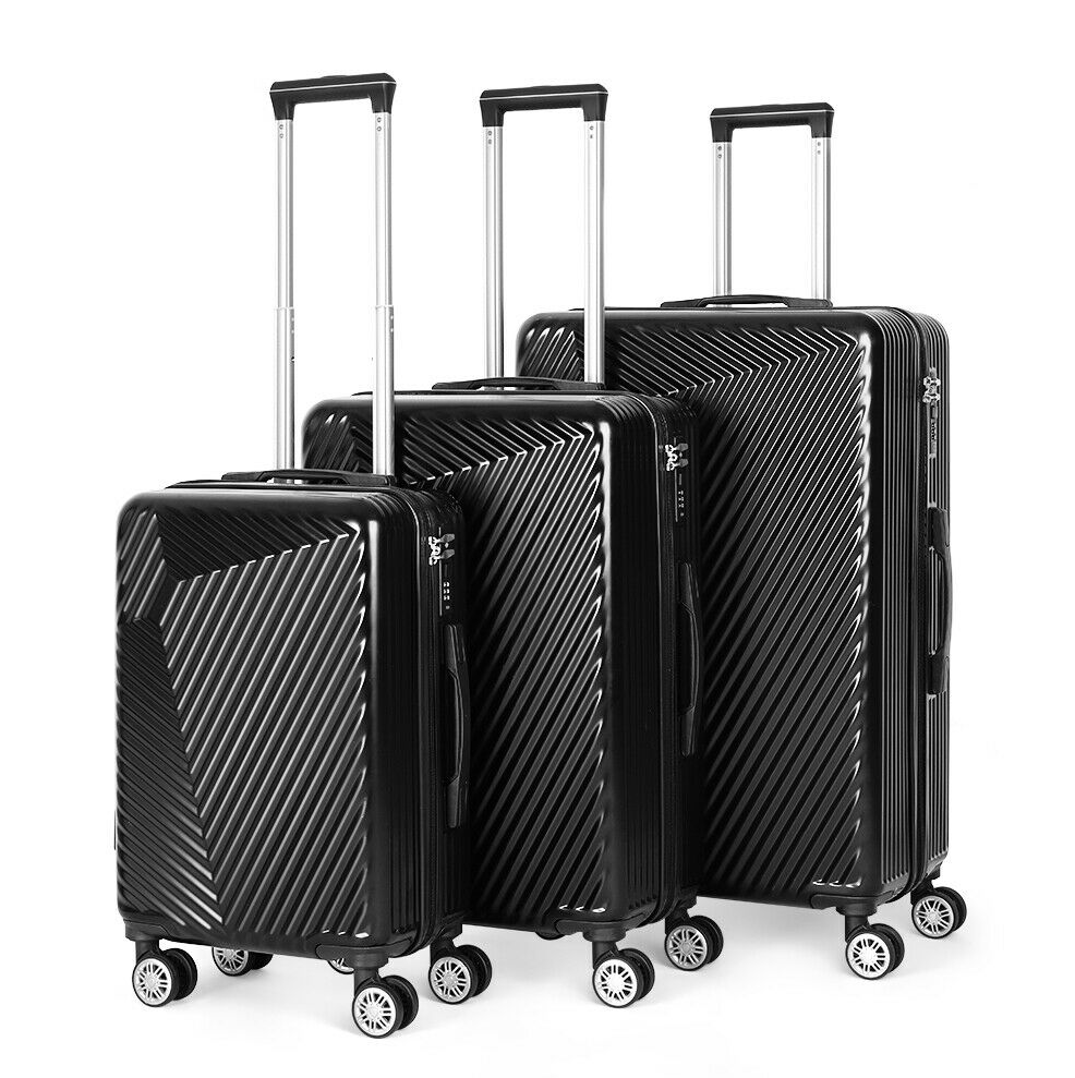 ABS Hard Shell Cabin Suitcase Case 4 Wheels Luggage Lightweight 20 24 28 Black - $70.00