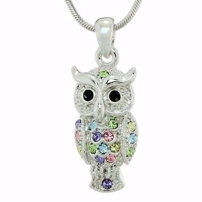 Eagle OWL Pendant Made With Swarovski Crystal Wise Multi Color Necklace Jewelry