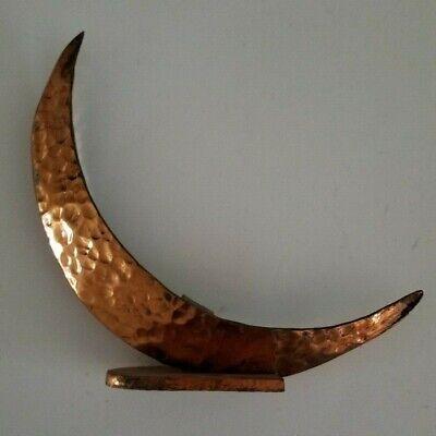 Hammered Copper Moon Incense Burner Arts & Crafts Celestial Vintage Handmade
