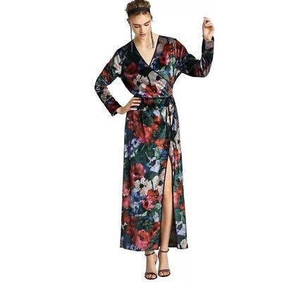 Zara Womens Large Kimono Maxi Dress Wrap Velvet Floral Stretch $ 98