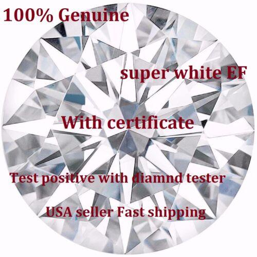 Brilliant White Round cut Moissanite, E-F Grade, VVS1 clarity, Excellent cut,