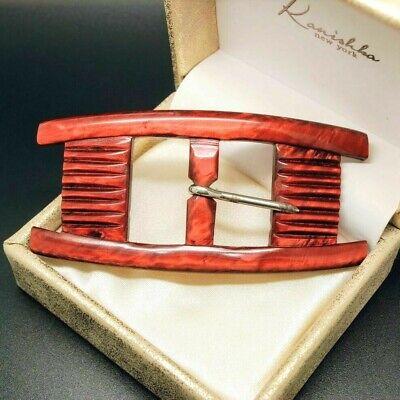 VINTAGE ACCESSORIES French 1960s Burnt Orange Celluloid BELT BUCKLE 1960's Womens Accessories Belt