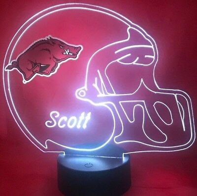 Arkansas Razorbacks NCAA College Football Light Up Lamp LED Personalized, -