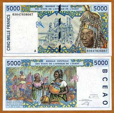 West African States  Ivory Coast 5000  5 000  Francs  2003  P 113Am  Aunc