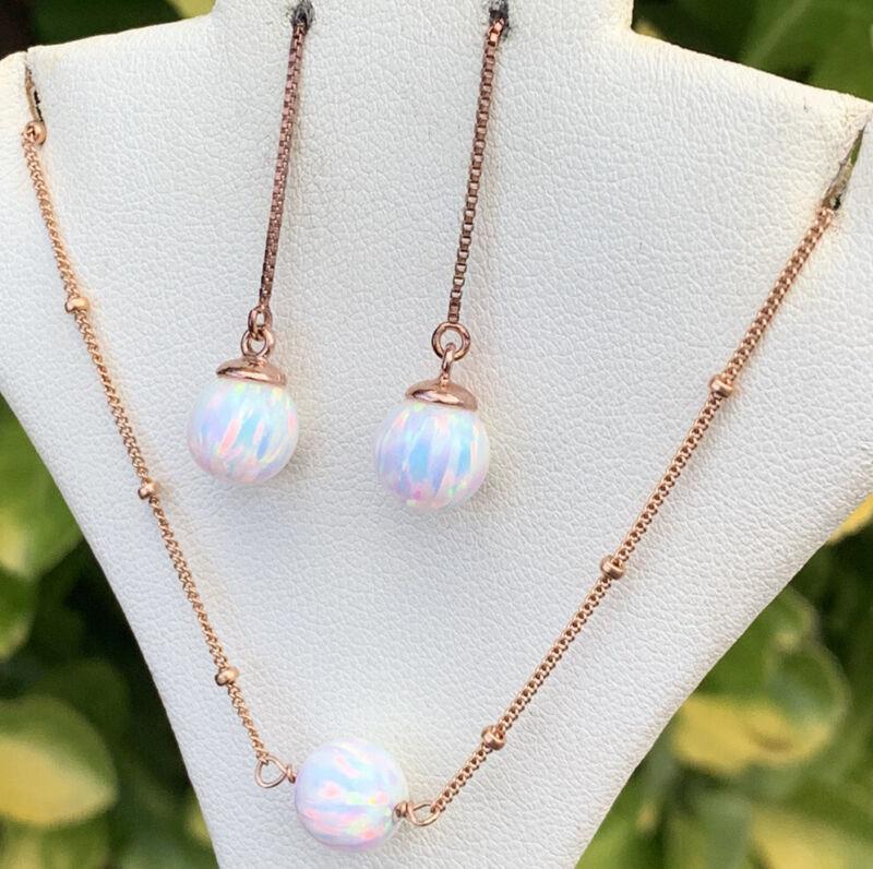 Vintage 14k Gold Filled GF 1/20 Opal Necklace Chain Threader Earrings Set