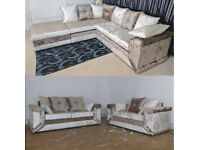 EXPRESS DELIVERY UK | NEW DINO SOFA BROWN/MINK CORNER+FOOTSTOOL OR 3+2 SEATER | 1 YEAR WARRANTY