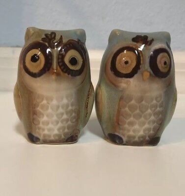 Unique Hand crafted Owl Salt and Pepper Shakers, Ceramic, Glazed, Earth tones.!