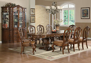 pc high end toulouse cherry finish dining room set table and chairs
