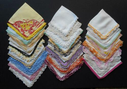 76 Piece Lot Vintage Hankies Cutter Or Craft Crocheted Floral Prints Embroidery
