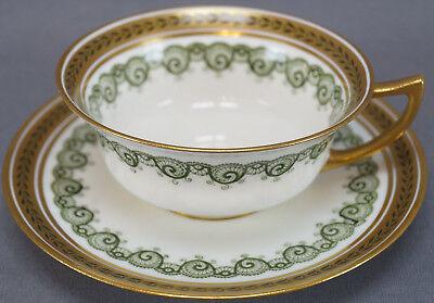 Royal Doulton Porcelain Avondale Green & Gold Tea Cup & Saucer Circa 1902 - 1930