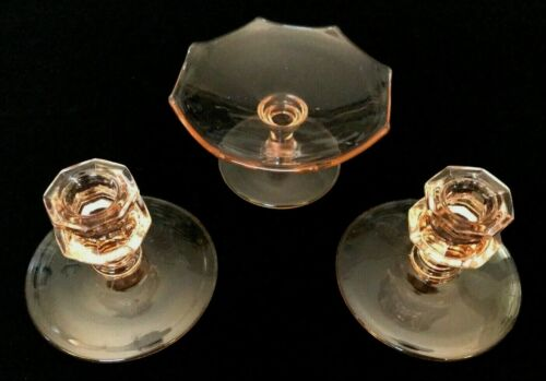 Pink Depression Glass Taper Candle Stick Holders & Compote 3 piece set
