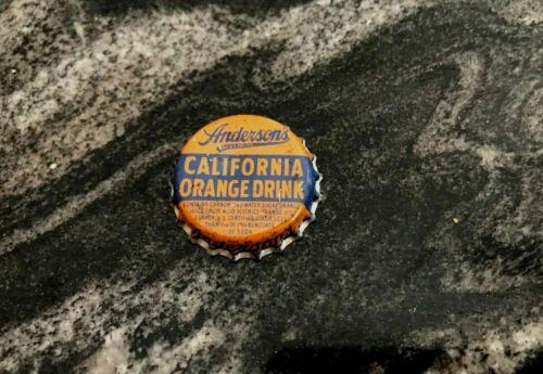 VINTAGE ANDERSONS CALIFORNIA ORANGE DRINK SODA BEVERAGE CORK BOTTLE CAP CROWN