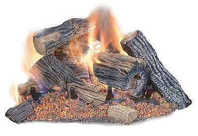 18 in. Natural Gas Fireplace Logs Vented Fire Log Insert Realistic Dual Burner ()