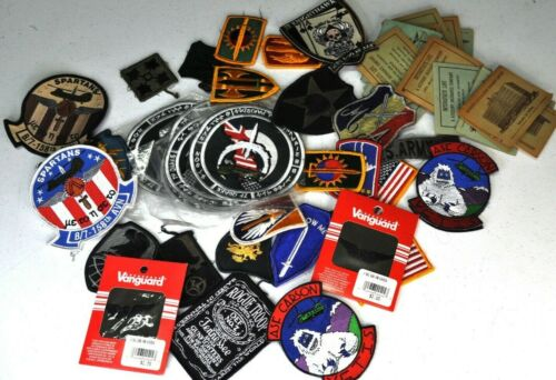 Lot of Military Patches 30+ & Vintage Interstate Life Ins First Aid Band Aid ADS