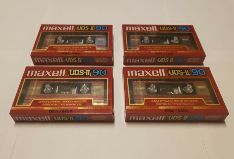 4 Maxell UDS-II 90 Minute Ultra Dynamic Super Cassette FACTORY SEALED Type II