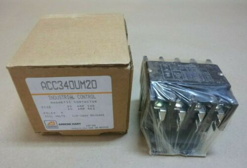 ARROW HART COOPER ACC340UM20 INDUSTRIAL CONTROL MAGNETIC CONTACTOR 30A 4P 120V