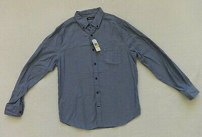 Nautica Button Front Shirt Mens Size M Blue Chambray Long Sleeve