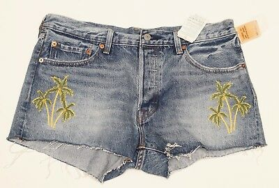 NWT Levis 501 Wild Dreaming Button Fly Cut Off Shorts Embroidered Palm Tree Sz32