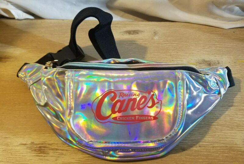 Raising Cane's Chicken Fingers Fanny Pack Halographic Black Strap Rare
