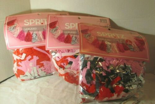 LOT OF 3 GARLAND PINK RED   HEART Decorating Valentine Day Kit  Spritz  Be Mine