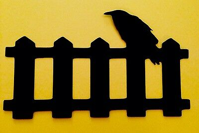 Halloween Silhouette Crow On Fence Die Cut Black Handmade with cardstock - Halloween Crow Silhouette