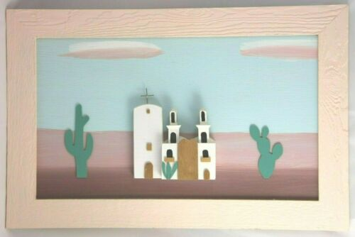Vtg Southwestern 3D Woodcraft Art Pastel Mission White Church Painted Picture