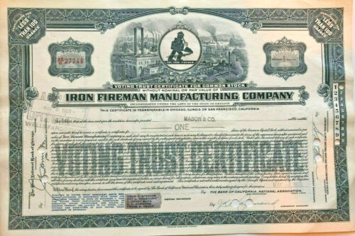 Iron Fireman Manufacturing Company stock certificate