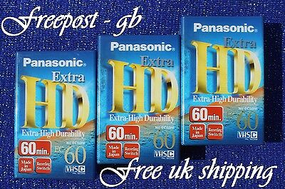 3 x EXTRA LONG (2 Hours) PANASONIC EC-60 VHS-C VIDEO CAMCORDER TAPES / CASSETTES