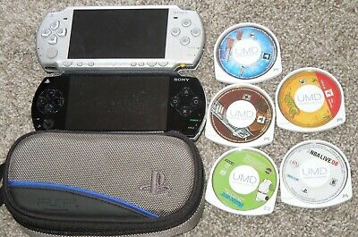 Lot of 2 Sony PlayStation Portable PSP & 5 Games Bundle Tested