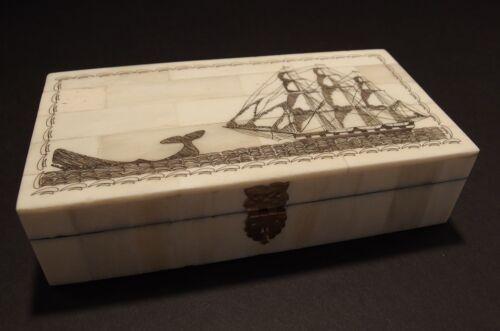 Antique Style Folk Whale Chase Scrimshaw Bone & Wood Trinket Box