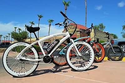 FAT TIRE E BIKE Electric Beach Cruiser Bicycle White 1000W 48V SOUL STOMPER 3S