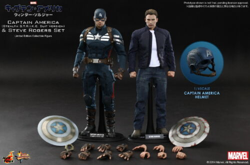 "1//6 Hot Toys MMS243 Winter Soldier CAPTAIN AMERICA Blue Metal Shield for 12/"" fig"
