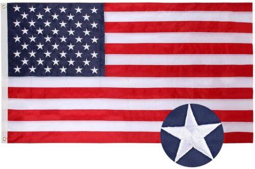 American Flag 3x5 Ft, Nylon US Flag Embroidered Stars Sewn Stripes Brass Grommet