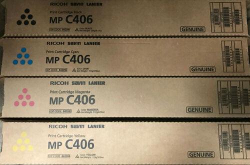 Genuine 4 x Ricoh Savin Lanier Toner MP C406 - Black / Magenta / Cyan / Yellow