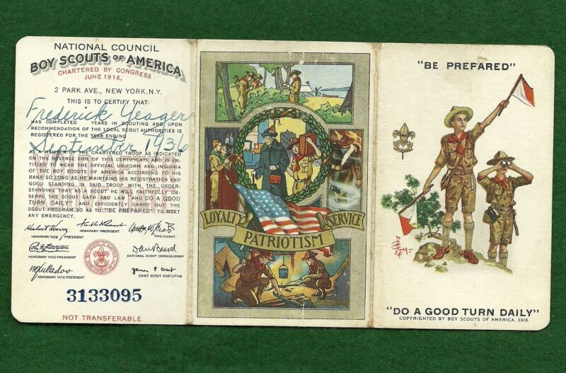 VINTAGE BOY SCOUT- 1936 MEMBERSHIP CARD