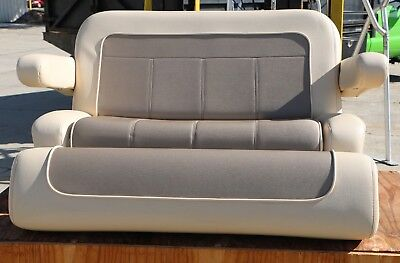 Sea Ray Boat Seat Cockpit Sliding Double Bolster Bench Captains Helm Chair Tan