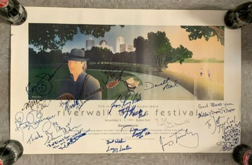 1993 7TH ANNUAL RIVERWALK BLUES FESTIVAL HAND SIGNED x (16+/-) 16X25 POSTER PBMC