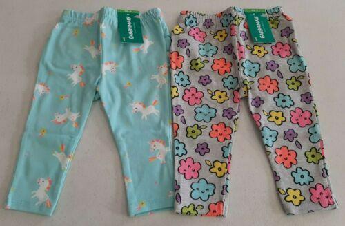 Garanimals Baby Girls 2 Pack Ruffle Leggings Various Sizes Pant Flowers,Unicorns