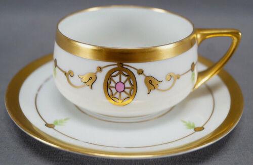 Pickard Hand Painted Neoclassical Gold Medallion Adam Border Tea Cup & Saucer