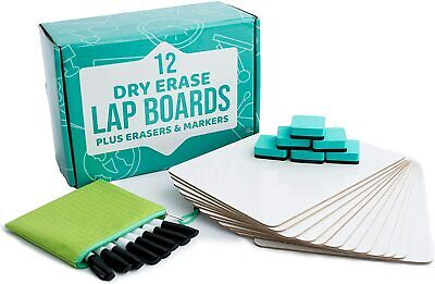 Lot Of 12 Whiteboard 12x9 Inch Dry Erase White Lap Board W Eraser Markers