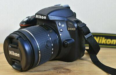 NIKON D3300 DSLR WITH AF-P DX 18-55 LENS, CHARGER, 2 BATTERYS & 3 SD Cards