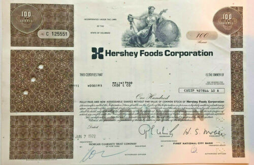 Hershey Foods Corporation > chocolate candy company stock certificate