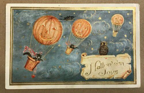 "Whitney Vintage ""Halloween Joys"" Black Cats Joy-riding in JOL Hot-Air Balloons."