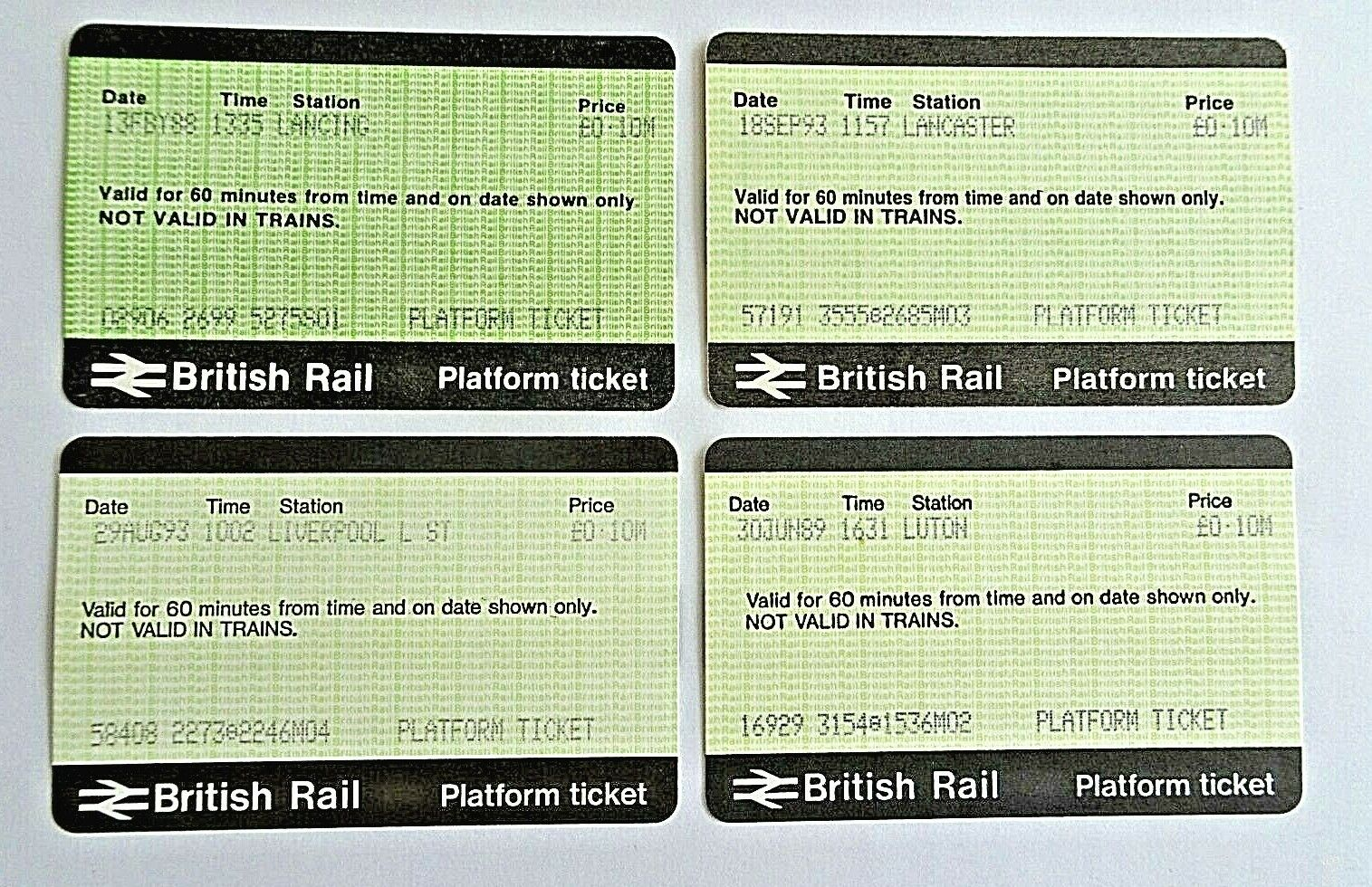 4 British Platform Tickets - Lancaster,Liverpool L St, Luton, Lancing 10p
