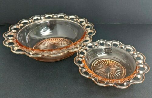 """Vintage Pink Depression Glass Bowls with Open Lace Edge Old Colony Set 9"""" & 6"""""""