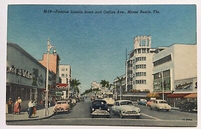 FL Postcard Miami Beach Famous Lincoln Road and Collins Ave. cars autos (Lincoln Road Stores Miami Beach)