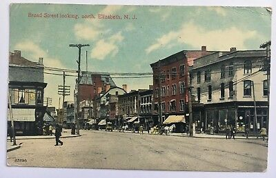 1911 NJ Postcard Elizabeth New Jersey Broad Street looking north stores