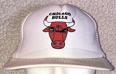Vintage Chicago Bulls NBA White Snapback One Size Fits All Mesh Cap Hat